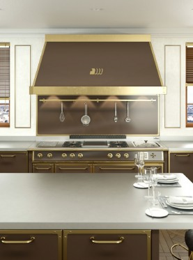 Bespoke Kitchens - Glossy Brass and Chocolate Brown